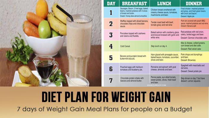 diet plan for weight gain