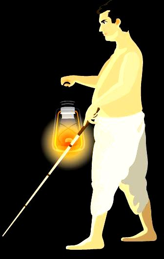 blind man with lamp