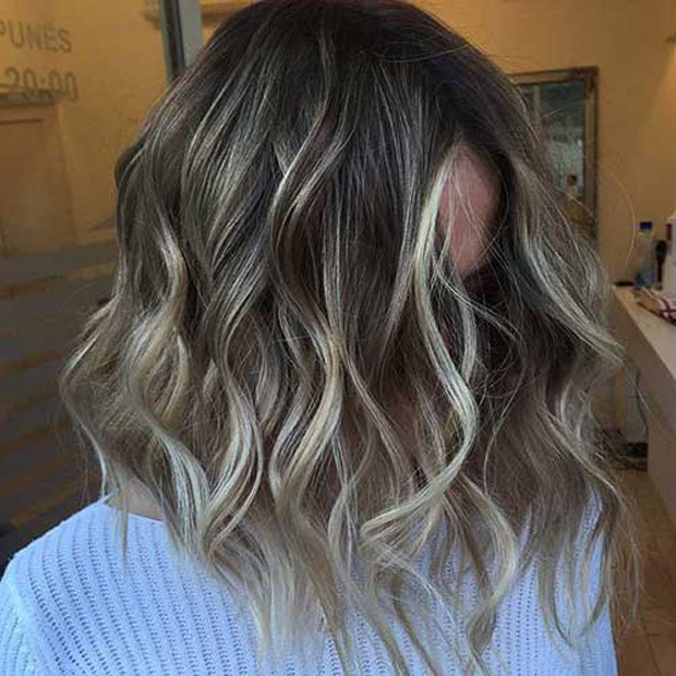 Cool Ash Blonde Wavy Bob Color