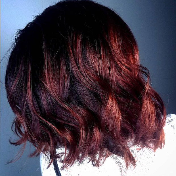 Dark Red Ombre Color Bob