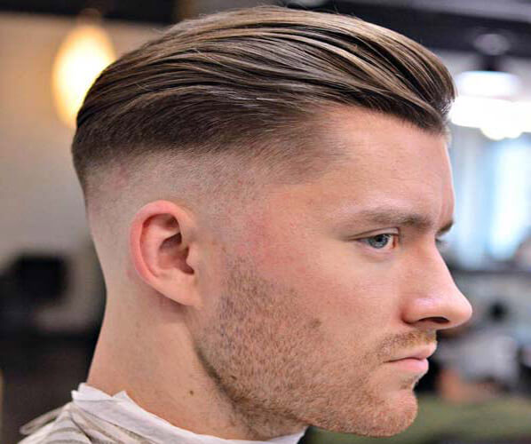 High Fade with Textured Slick Back