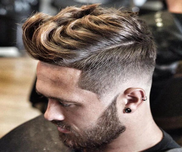 Low Fade with Thick Long Hair Quiff