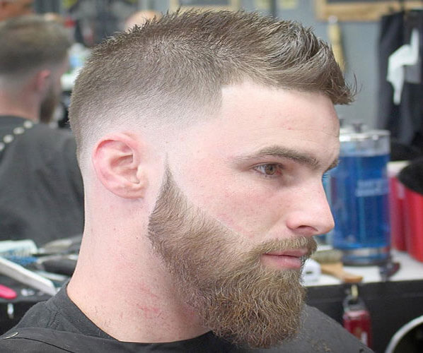 Mid Fade with Faux Hawk and Beard