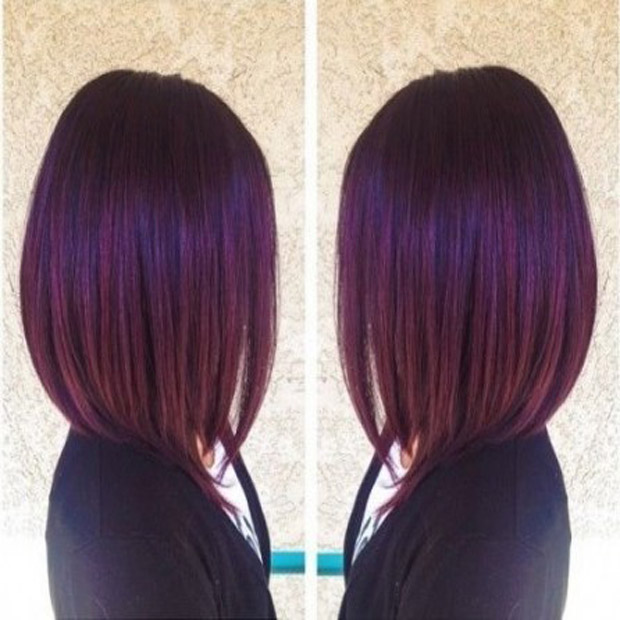 Straight Dark Purple Bob Color