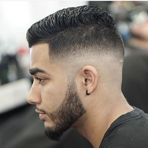Thick Hair on Top with Mid Skin Fade and Part