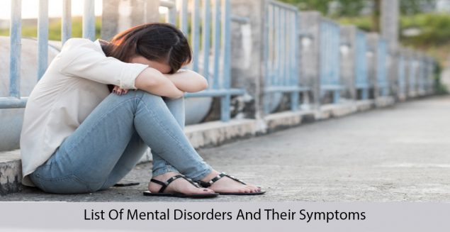 get list of mental disorders and their symptoms