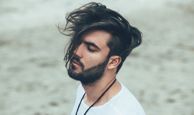 side swept long hair with undercut