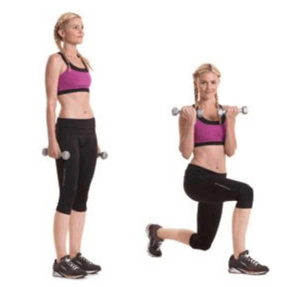 Forward Lunge Bicep Curl