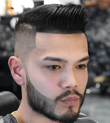High Razor Fade + Short Comb Over + Thick Beard
