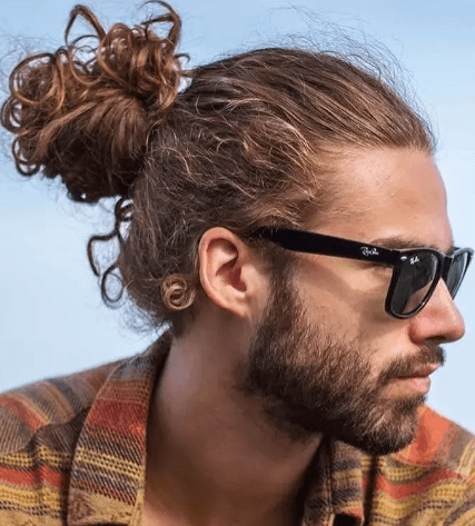 Man Bun with curly hair