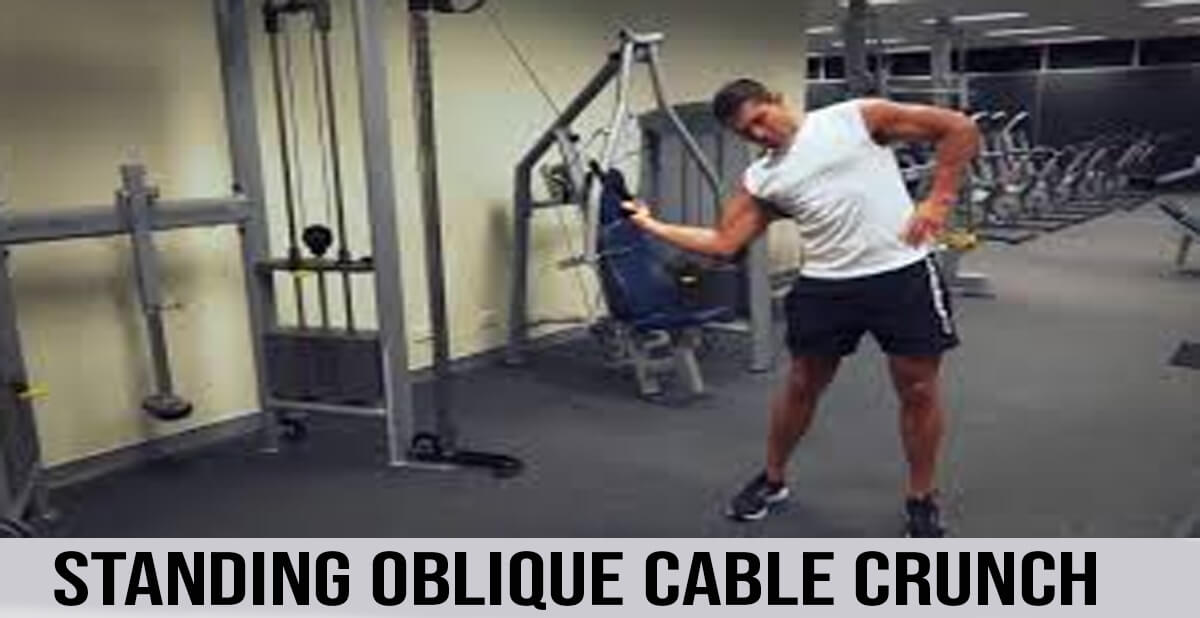standing oblique cable crunch exercise